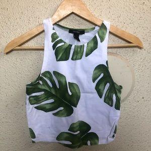 Leaf Print Crop Top